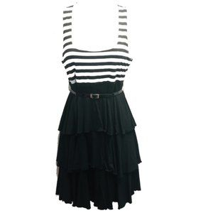 French Atmosphere Black White Tiered Dress Belted